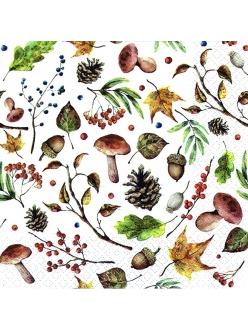 Салфетка для декупажа Осенний лес, белый, 33х33 см, Ti Flair