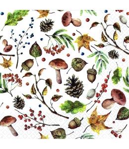 "Салфетка для декупажа ""Осенний лес, белый"", 33х33 см, Германия"