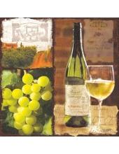 "Салфетка для декупажа ""Белое вино и виноград"", 33х33 см, Германия"