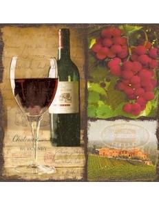 "Салфетка для декупажа ""Красное вино и виноград"", 33х33 см, Германия"