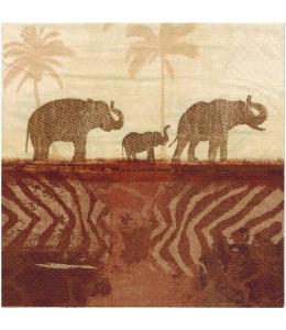 """Салфетка для декупажа """"Слоны"""", 33х33 см, Германия"""