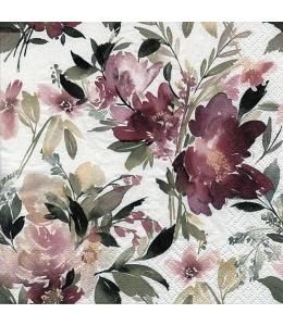 """Салфетка для декупажа """"Акварельные винтажные цветы"""", 33х33 см, Германия"""