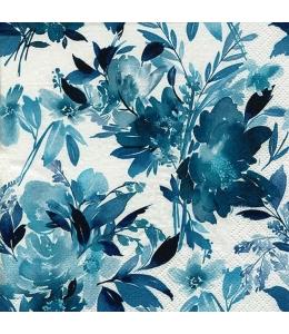 """Салфетка для декупажа """"Акварельные бирюзовые цветы"""", 33х33 см, Германия"""