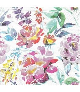 """Салфетка для декупажа """"Яркие акварельные цветы"""", 33х33 см, Германия"""