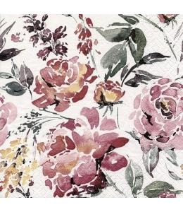 """Салфетка для декупажа """"Акварельные цветы Бургундия"""", 33х33 см, Германия"""