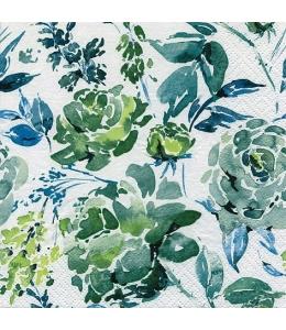 """Салфетка для декупажа """"Акварельные цветы зеленые"""", 33х33 см, Германия"""