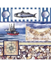 "Салфетка для декупажа ""Морской коллаж"", 33х33 см, Германия"