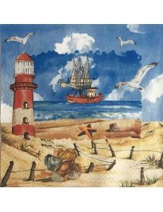 "Салфетка для декупажа ""Морской берег и парусник"", 33х33 см, Германия"