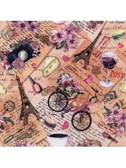 Салфетка для декупажа Поездка в Париж, 33х33 см, Ti Flair