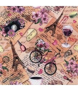 """Салфетка для декупажа """"Поездка в Париж"""", 33х33 см, Германия"""