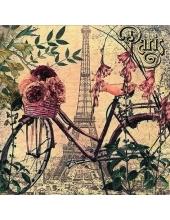 """Салфетка для декупажа """"На велосипеде по Парижу"""", 33х33 см, Германия"""