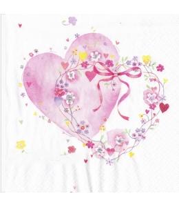 """Салфетка для декупажа """"Сердце и цветы"""", 33х33 см, Германия"""