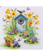 """Салфетка для декупажа """"Скворечник и весенние цветы"""", 33х33 см, Германия"""