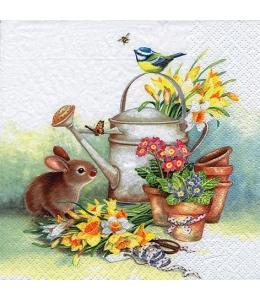 """Салфетка для декупажа """"Весенние цветы в лейке"""", 33х33 см, Германия"""