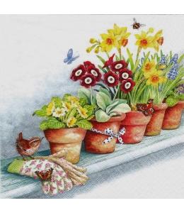 """Салфетка для декупажа """"Цветы на подоконнике"""", 33х33 см, Германия"""