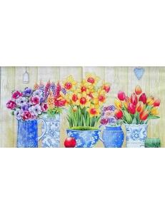 """Салфетка для декупажа """"Весенние цветы в вазах"""", 33х33 см, Германия"""