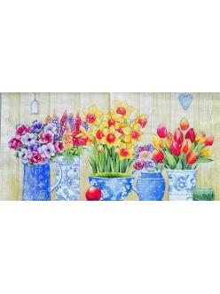 Салфетка для декупажа Весенние цветы в вазах, 33х33 см, Германия