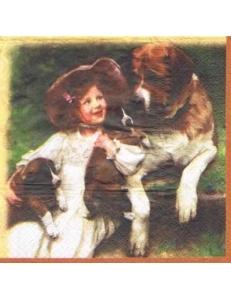 """Салфетка для декупажа """"Девочка с собаками"""", 33х33 см, Польша"""