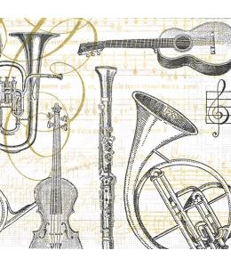 """Салфетка для декупажа """"Мызыкальные инструменты"""", 33х33 см, Германия"""