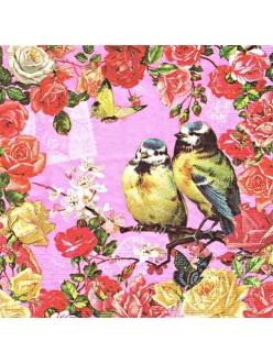 Салфетка для декупажа Винтажные розы и птицы, 33х33 см, Германия