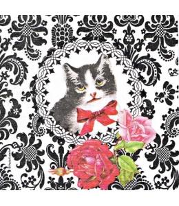 "Салфетка для декупажа ""Кошка барокко"", 33х33 см, Германия"
