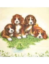 "Салфетка для декупажа ""Четыре щенка"", 33х33 см, Голландия"