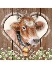 """Салфетка для декупажа HF13307715 """"Корова с колокольчиком"""", 33х33 см, Голландия"""