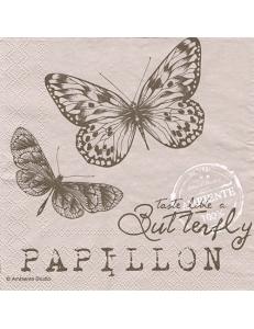 "Салфетка для декупажа ""Бабочки на бежевом"", 33х33 см, Голландия"