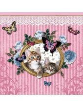 """Салфетка для декупажа HF13307930 """"Королевские котята на розовом"""", 33х33 см, Голландия"""