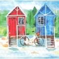 """Салфетка для декупажа """"Пляжные домики"""", 33х33 см, Голландия"""