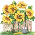 "Салфетка для декупажа ""Сад с подсолнухами"", 33х33 см, Голландия"
