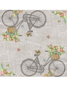 """Салфетка для декупажа """"Велосипед и корзина цветов"""", 33х33 см, Голландия"""