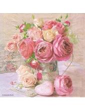 """Салфетка для декупажа HF13309005 """"Розы в кувшине"""", 33х33 см, Голландия"""