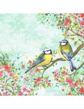 "Салфетка для декупажа HF13309125 ""Птицы на ветке, зеленый фон"", 33х33 см, Голландия"
