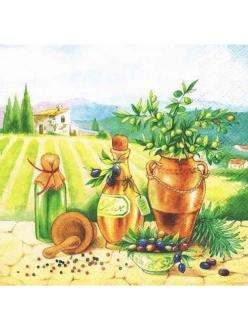 Салфетка для декупажа Тоскана, оливки, 33х33 см, Голландия