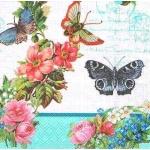 """Салфетка для декупажа HF13309780 """"Цветы и бабочки"""", 33х33 см, Голландия"""
