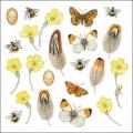 "Салфетка для декупажа HF13309900 ""Бабочки, цветы, перья"", 33х33 см, Голландия"