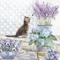 """Салфетка для декупажа HF13309990 """"Котенок и цветы"""", 33х33 см, Голландия"""