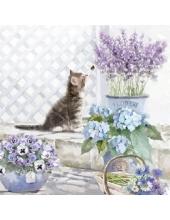 """Салфетка для декупажа """"Котенок и цветы"""", 33х33 см, Голландия"""
