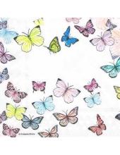 "Салфетка для декупажа HF13310000 ""Бабочки на белом"", 33х33 см, Голландия"