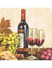 "Салфетка для декупажа ""Красное вино и виноград"", 33х33 см, Голландия"