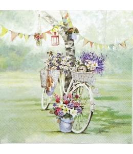 "Салфетка для декупажа ""Велосипед у дерева"", 33х33 см, Ambiente"