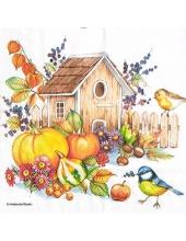 """Салфетка для декупажа """"Осенние птицы и скворечник"""", 33х33 см, Голландия"""