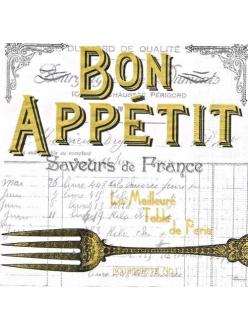 Салфетка для декупажа Bon Appetit, белый фон, 33х33 см