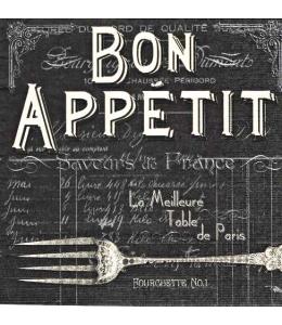 """Салфетка для декупажа """"Bon Appetit, черный фон"""", 33х33 см, Германия"""