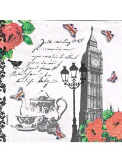 Салфетка для декупажа Английский чай, 33х33 см
