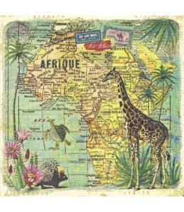 "Салфетка для декупажа ""Путешествие по Африке"", 33х33 см, PPD (Германия)"