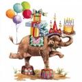 """Салфетка для декупажа """"Слон в цирке"""", 33х33 см, Германия"""