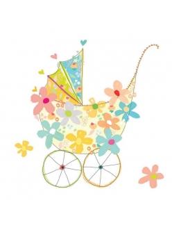 Салфетка для декупажа Детская коляска и цветы, 33х33 см