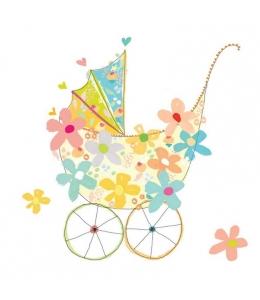 """Салфетка для декупажа """"Детская коляска и цветы"""", 33х33 см, Германия"""
